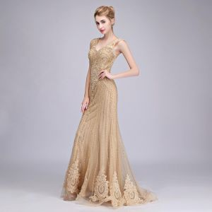 b0ac936d2afe SSYFashion Luxury Gold Evening Dress Mermaid Sequins Beading Party Formal  Prom Gown US 6