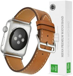 Apple Watch Band 40mm/38mm Mifan iWatch Strap Replacement Premium Soft Genuine Leather Supreme Style Wristband Bracelet Brown with Classic Silver Clasp for ...