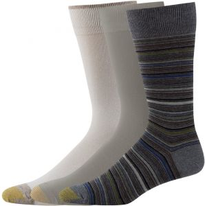 117e965697bd Gold Toe Men's 3-Pack Fashion Crew Socks Multi-Stripe Grey Heather Sage  String Shoe Size: 12-16