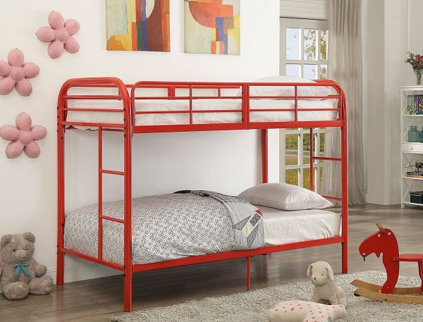 Major Q Red Metal Tube Supported Twin Over Twin Bunk Bed With Build