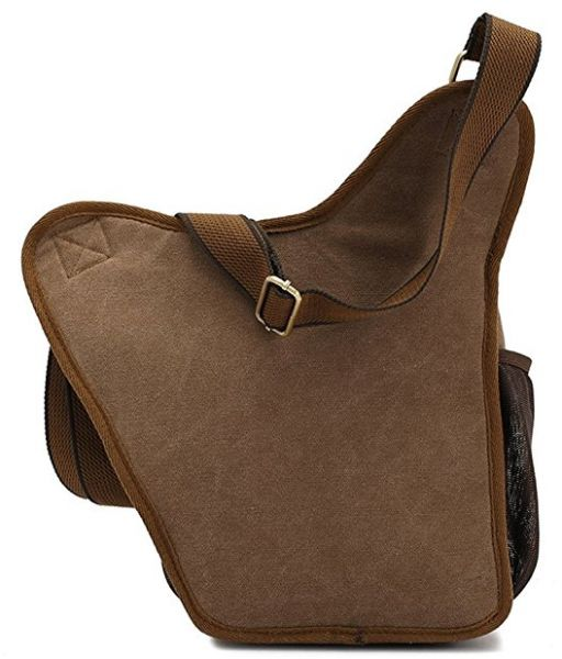 9f2378b45b KAUKKO Men s Brown Canvas Leather Single Shoulder Cross Body Bag Military Messenger  School Travel Hiking Satchel