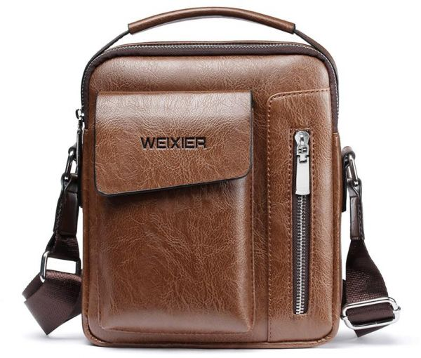 02fc9aae4f87 WEIXIER Men Messenger Bag Men's Leather Shoulder bag Male Travel Casual  Small Flap man Crossbody Bags for Men Handbag