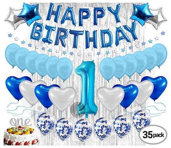 1st Birthday Decoration For Baby Boy First Balloon Party Supplies Kit Banner Confetti Balloons Number One Cake Topper Blue