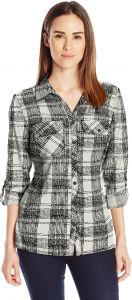 ce379e765b8b6a Notations Women's All Over Print 3/4 Roll Tab Y Neck Point Collar Button  Down Blouse, Noir Grim, Small