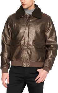 bf9817ab98f William Rast Men s Faux Leather Rugged Aviator Bomber Jacket