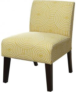 Major Q Linen Slipper Accent Chair For Living Room Bedroom Solid Pattern Back And Seat Cushion Yellow Finish With Wooden Tapered Leg 27 X