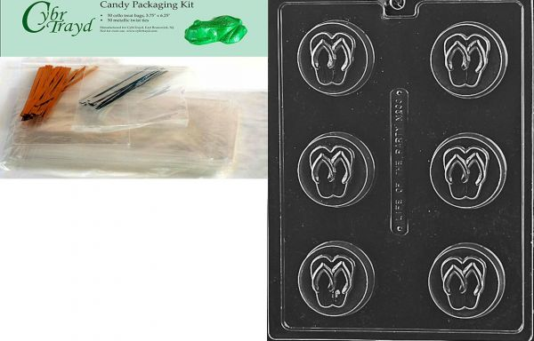 60398573c3dc28 Cybrtrayd Flip Flop Cookie Miscellaneous Chocolate Candy Mold with  Packaging Bundle of 50 Cello Bags