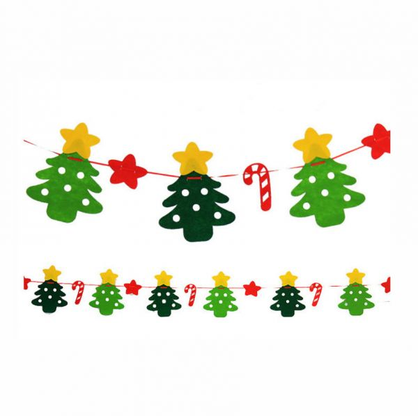 Christmas Decorations Christmas Decoration Hanging Flags Non-woven Merry Christmas  Flags Fabric Doors and Windows Bunting Creative Wave Christmas Trees ... c00a838887d8