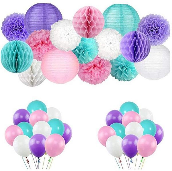 Mermaid Birthday Party Supplies Under The Sea Party 56pcs Teal Pink Purple Paper Pom Pom Paper Lanterns Balloons For Birthday Decor Baby Shower