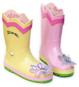 6d859c04dcb0 Kidorable Lotus Flower Yellow and Pink Natural Rubber Rain Boots (Little Kid)  12 M US