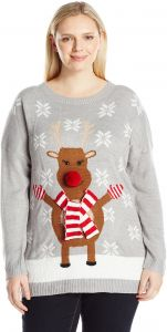 3c49e0d1ba6 Notations Women s Plus Size Happy Rudolph Ugly Christmas Sweater with 3D  Nose
