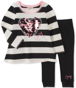 1eedacced Juicy Couture Girls' Legging Set, Pink Daisy/White/Black Pool, 12M