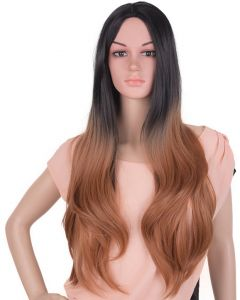 European And American Wig Black Gradient Brown In The Big Wave Long Curly Hair Chemical Fiber Wig Headgear