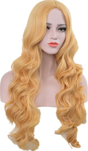 AliExpress Europe and the United States popular wigs gold and yellow large wave long curly hair wigs