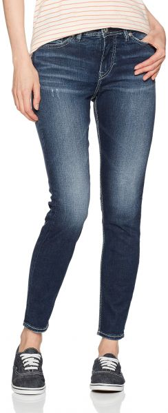 c8d0d060 Silver Jeans Co. Women's Mazy High Rise Ankle Skinny, Dark Ultra ...