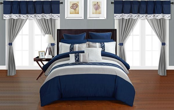 Chic Home Idit 24 Piece Comforter Set Color Block Embroidered Design