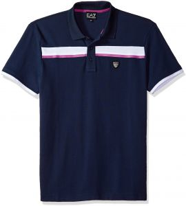 17f3aa501 Emporio Armani EA7 Men's Training Performance and Stylite Green Club Piquet  Polo, Navy Blue, L