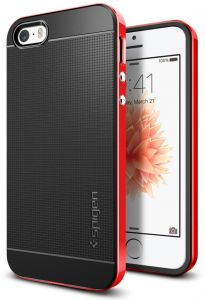 Spigen Neo Hybrid iPhone SE / 5S / 5 Case with Flexible Inner Protection and Reinforced Hard Bumper Frame for iPhone SE / 5S / 5 - Dante Red