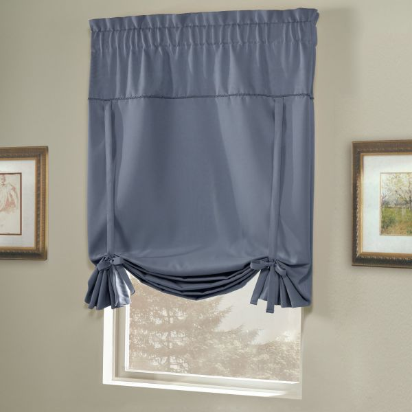 American Curtain And Home Solid Blackout Tie Up Shade 40 Inch By 63 Blue