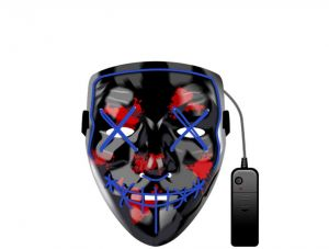 f4dc1665a Glowing Mask LED Luminous Mask Prom Bar Halloween Mask Double line stitch  Mouth Terror Mask Halloween Party Horror Cos Ghost Blue Luminous Props