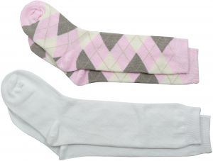 cb5ec7a4285 Country Kids Little Girls  Argyle and Open Weave Pellerine Knee Hi 2 Pair