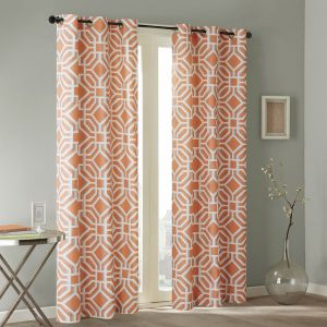 Intelligent Design Grommet Curtains For Living room, Maci Geometric Window  Curtains For bedroom Family Room, Modern Contemporary Fabric Orange Living  ...
