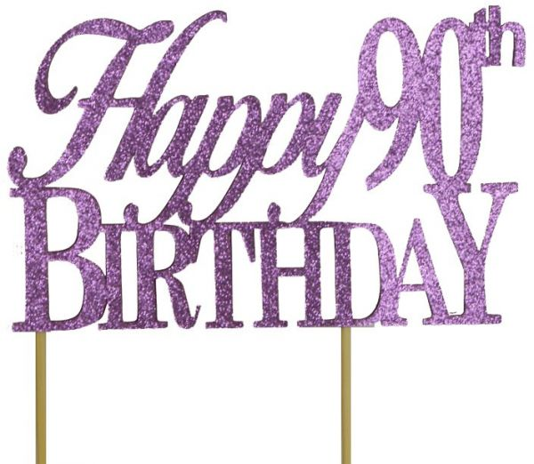 All About Details Purple Happy 90th Birthday Cake Topper