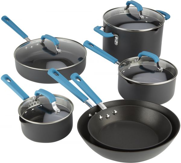 Emeril Lage 63047 Hard Anodized Dishwasher Safe Nonstick 10 Piece Pots And Pans Cookware Set Teal