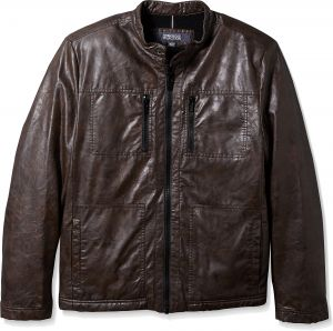 62517b4394438 Kenneth Cole New York Men s Distressed Leather Jacket with Faux Sherpa  Lining