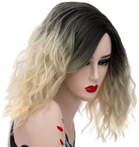 Aicos Alacos Fashion Black Dark Roots Ombre Short Curly Bob Christmas Daily  Costumes Wig for Women Plus Wig Cap 7c6ed0f0cd28