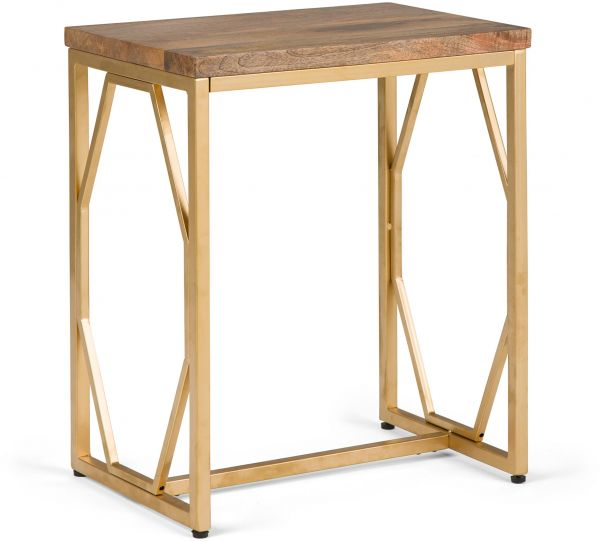 Simpli Home Selma Metal/Wood Accent Table, Natural and Gold
