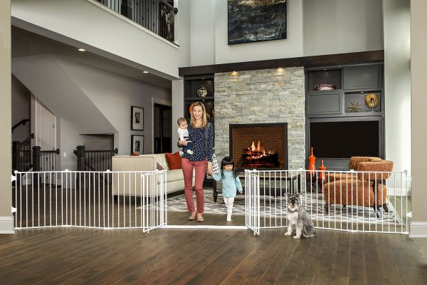 Regalo 192 Inch Double Door Super Wide Gate And Adjustable 8 Panel Play Yard White