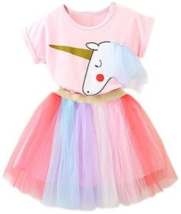 4787b80233ea TTYAOVO Girl Unicorn Clothing 2pcs Outfits Pink Tops   Colorful Lace Tutu  Skirts Party Dresses Girls Christmas Halloween Pony Dreams Princess for  Baby Girls ...