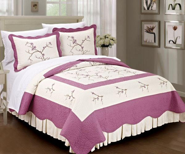 Home Soft Things Serenta Classic Embroidered 100 Cotton Bedspread