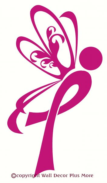 Wall Décor Plus More Wdpm2131 Breast Cancer Ribbon With Wings Wall