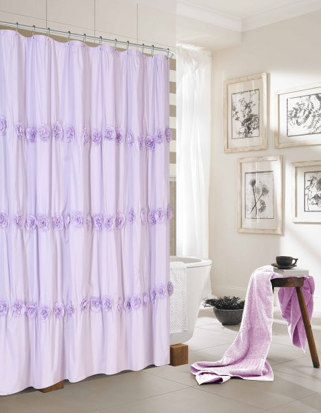 Dainty Home Rosette Fabric Shower Curtain With 3D Flowers Purple