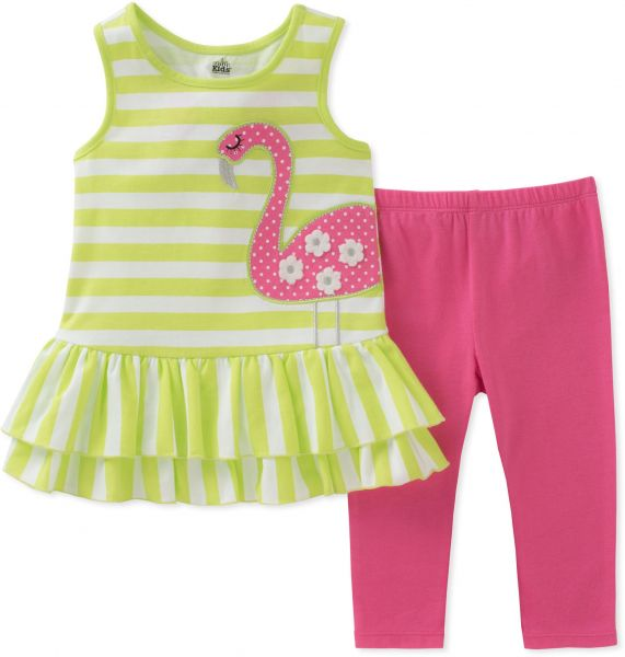 9c22a01a7cc Kids Headquarters Baby Girls Tunic Set-Sleeveless, Green/White/Pink, 12M |  Souq - UAE