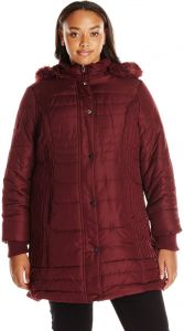5a116bf7e01c4 Details Women s Plus Size Mid-Length Puffer Coat with Faux Fur-Trimmed  Hood