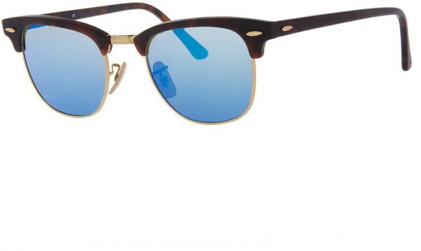Ray-Ban CLUBMASTER - SAND HAVANA/GOLD Frame GREY MIRROR BLUE Lenses ...