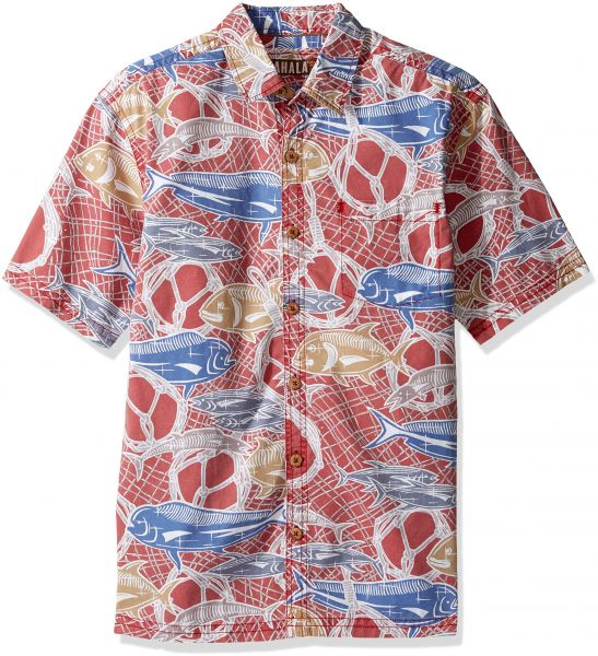d9f226c64 Kahala Men's Fish Net Relaxed Fit Hawaiian Shirt, Red, MED | KSA | Souq