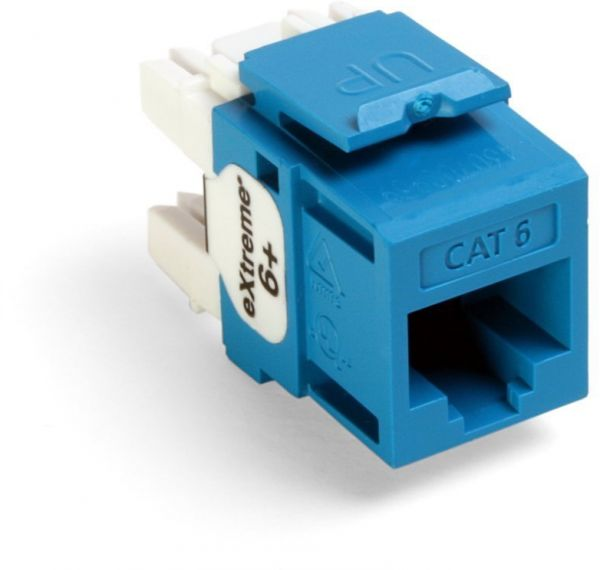 Leviton 61110-JL6 eXtreme Cat 6 QuickPort Connector, Kitted with Jack Rapid  Tool, 150-Pack, Blue