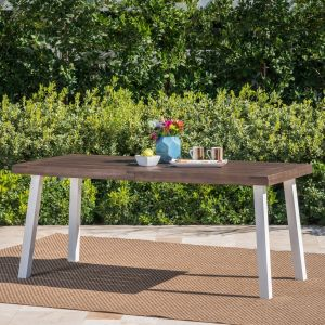 a9b50d2276801 Christopher Knight Home Olivia Outdoor Dark Brown Finished Acacia Wood  Dining Table White Finished Rustic Metal Legs