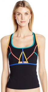 5d67a657db Profile by Gottex Women's Contrast Piping Scoop Neck D-Cup Tankini Top  Swimsuit, Electra Multi, 6