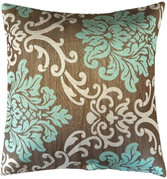 Kella Milla Regal Damask Throw Pillow Cover Mocha Teal