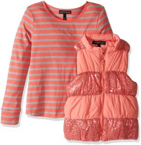 86d9045c Derek Heart Big Girls' 2 Piece Set Puffy Vest with Sequin Trim and Long  Sleeve Stripe T-Shirt, Sugar Coral/Lunar Rock, m10/12