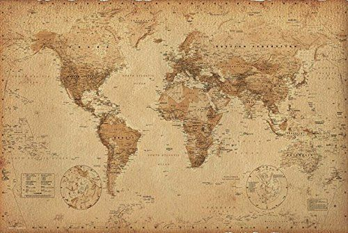 Vintage World Map Art.Antique Vintage World Map 36x24 Art Print Poster Wall Decor