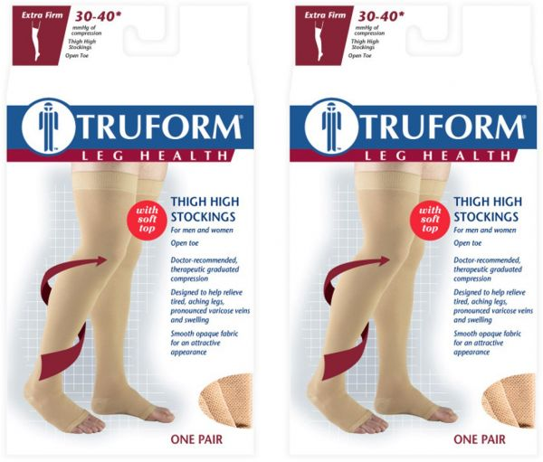 c6d7044a2 Truform Compression 30-40 Mmhg Thigh High Open Toe Stockings Beige ...