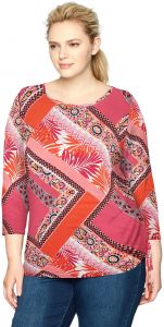 85cb4e55062047 Ruby Rd.. Women's Plus Size Printed 3/4 Sleeve Knit Top with Side Ruching,  Azalea Multi, 1X