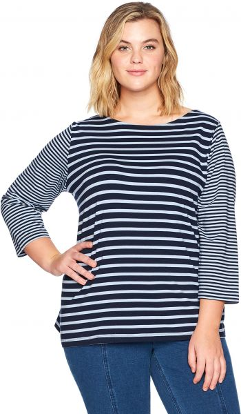 67a7739af64 Ruby Rd.. Women s Plus Size Boat-Neck Striped Cotton Knit Top