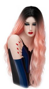 abe574855c Aicos Alacos 70CM Long Wavy Curly Black Roots Ombre Synthetic Cosplay  Christmas Party Costumes Wigs for Women Plus Free Wig Cap (Pink-Red)